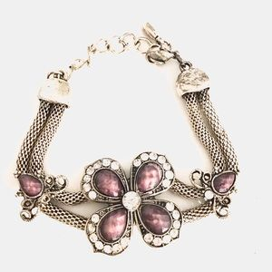 Antiques SilverTone Mesh Purple Flower Bracelet